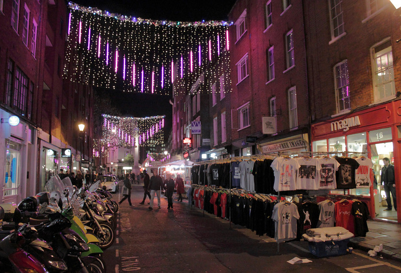 Christmas lights Earlham Street London November 2011