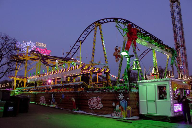 Roller Coaster at Winter Wonderland Hyde Park London Christmas 2011