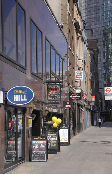 Shops along Wormwood Street in the City of London