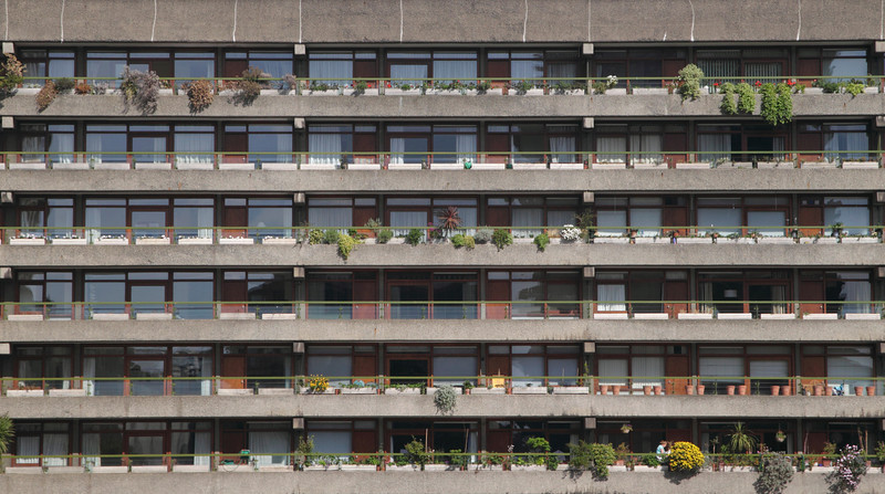 Closeup of Residential flats at the Barbican London