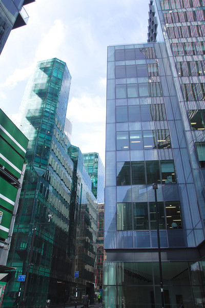 Modern office buildings Moor Lane in the City of London