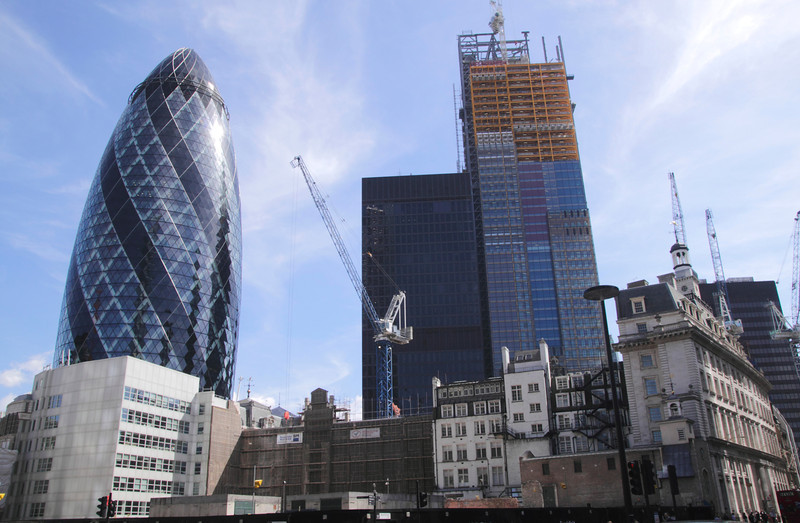 Cheesegrater Building under construction by the Gherkin London June 2013