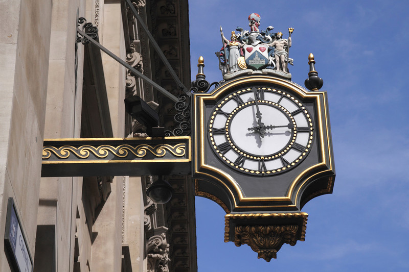 Clock on side of Royal Exchange Building London