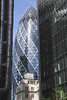 Swiss Re Tower between Lloyds and Willis Building London