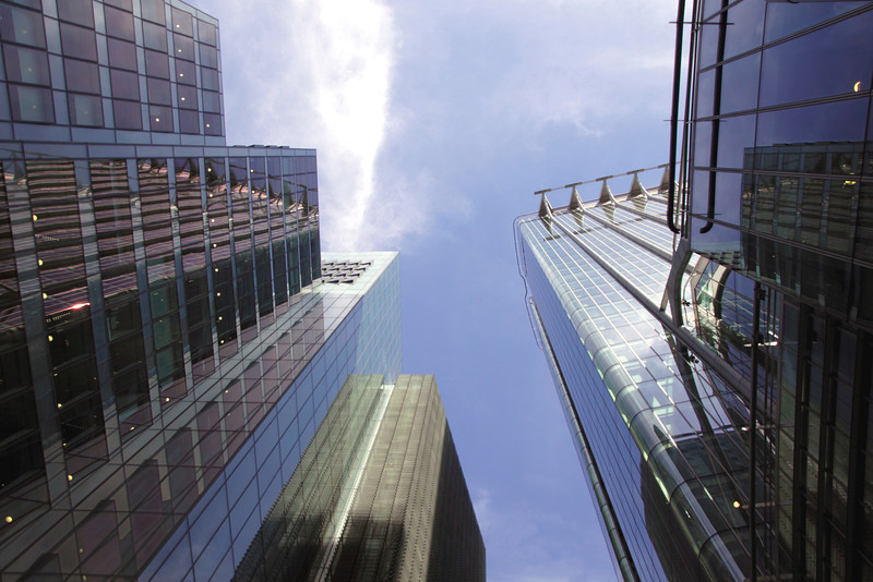Skyscrapers in the City of London view from Moor Lane