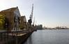 Promenade along the southern bank of Royal Victoria Dock London