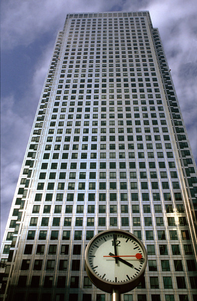 Canada Tower and clock Canary Wharf London