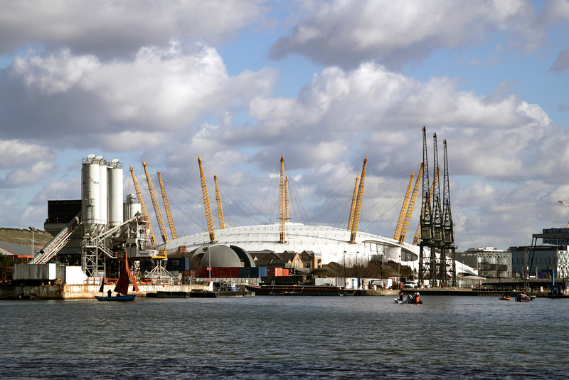 Millenium Dome London view from South Quay Docklands