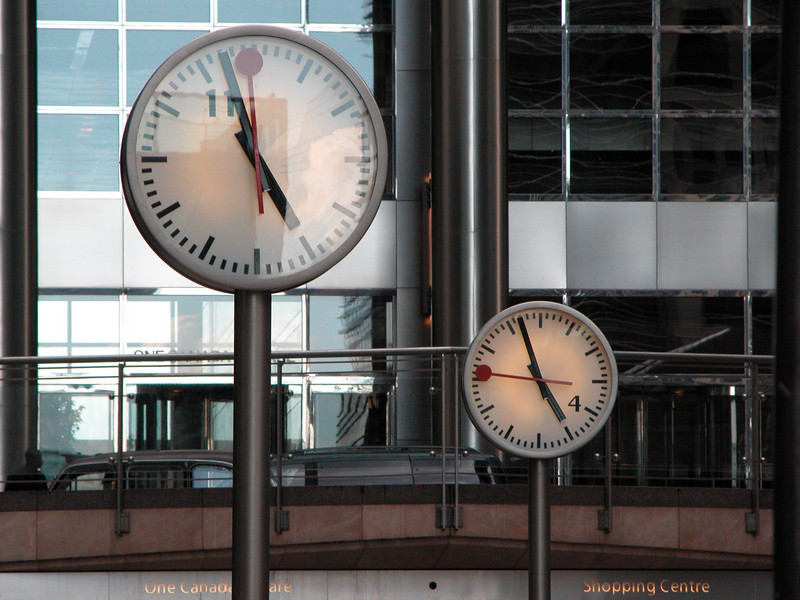 Clocks near Canada Tower at Canary Wharf London