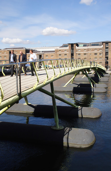 Pedestrian footbridge at West India Quay Docklands London