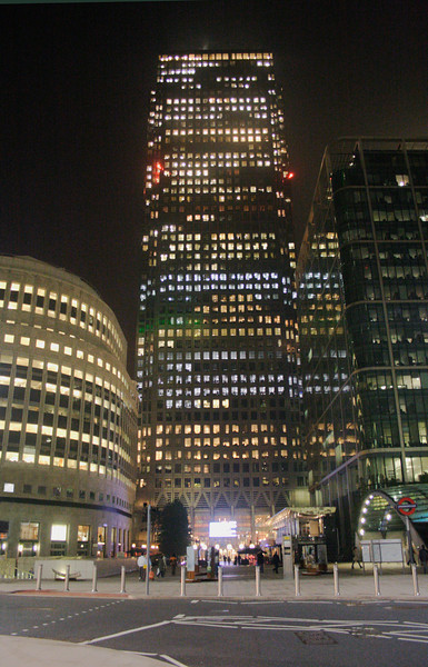 Canada Tower at night London
