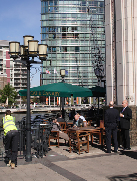 City Gents drinking at West India Quay Docklands September 2007