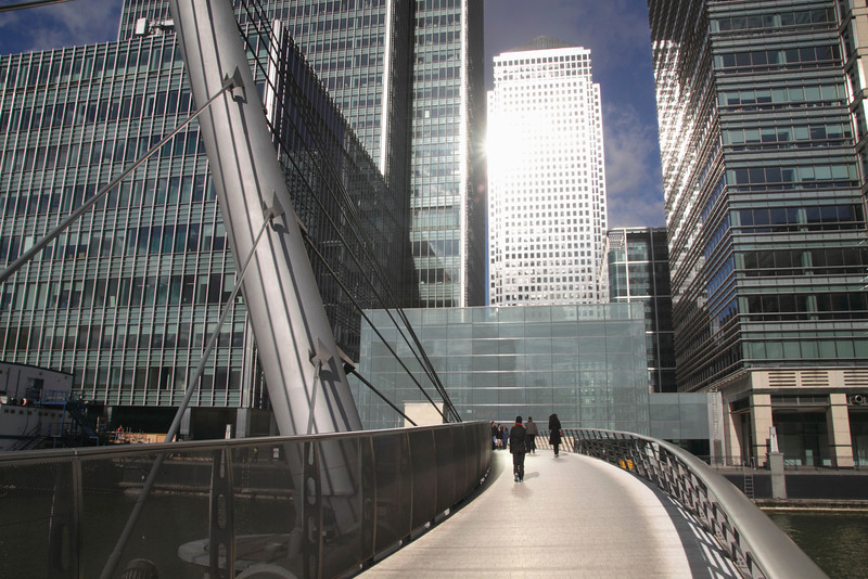 Pedestrian footbridge South Quay Docklands London