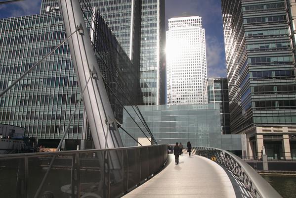 Pedestrian footbridge South Quay Docklands London