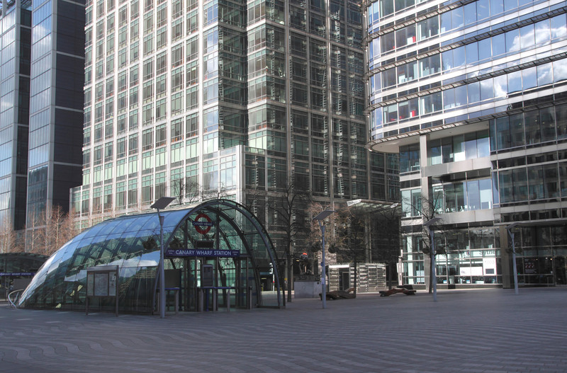East entrance to Canary Wharf tube station Docklands London