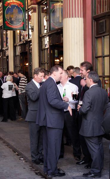 City gents drinking at the Leadenhall Market London