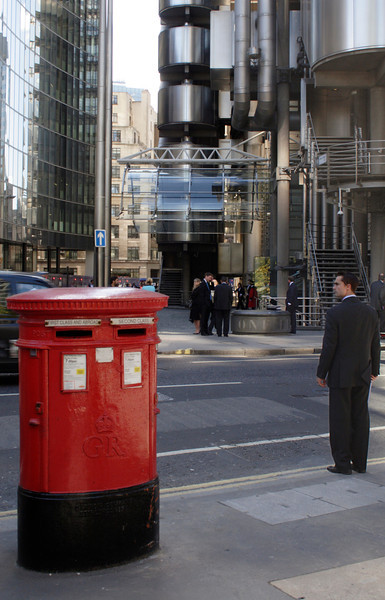 English Post Box and City Gent near the Lloyds Building London