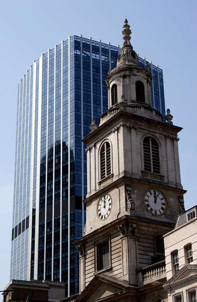 Modern Office building and St Botolph Church Bishopsgate London