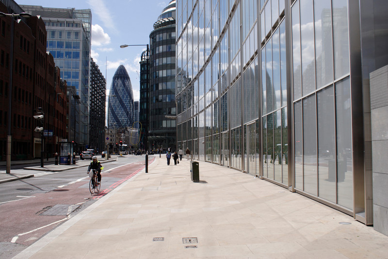 View along Norton Folgate and Bishopsgate towards Gherkin Tower City of London