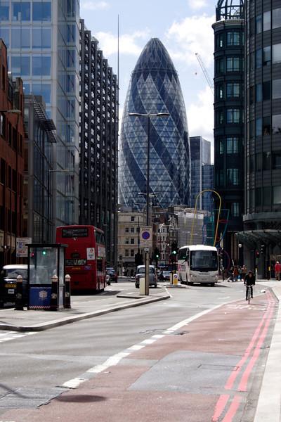 View along Norton Folgate and Bishopsgate towards Gherkin Tower City of London