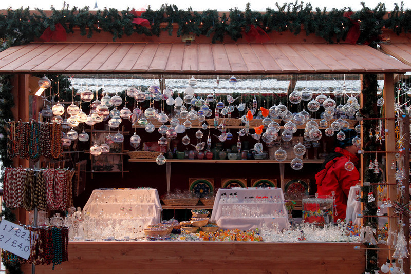 Decorations stall at Cologne Christmas Market South Bank London December 2009