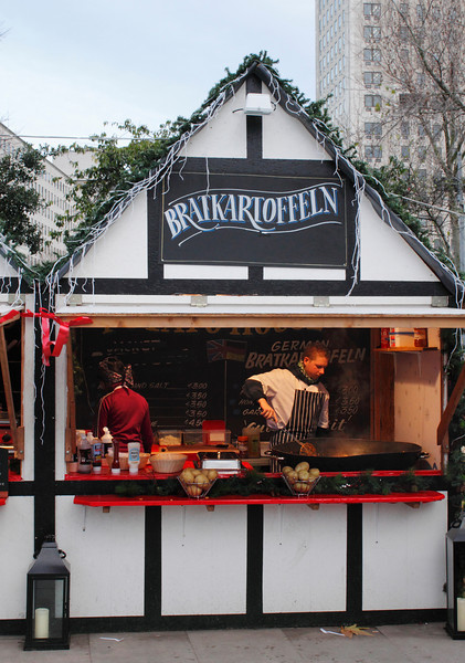 Food stall at Cologne Christmas Market South Bank London December 2009