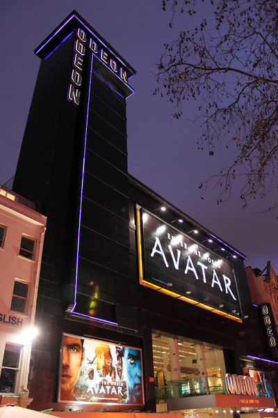 Avatar showing at the Odeon Cinema Leicester Square London December 2009