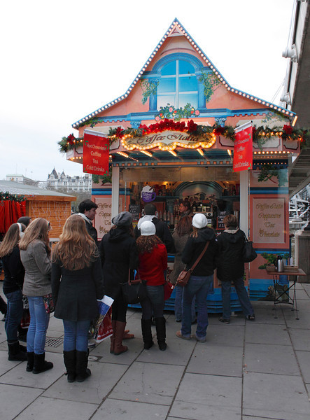 Coffee and tea stall at Cologne Christmas Market South Bank London December 2009