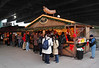 Sausage stall at Cologne Christmas Market South Bank London December 2009