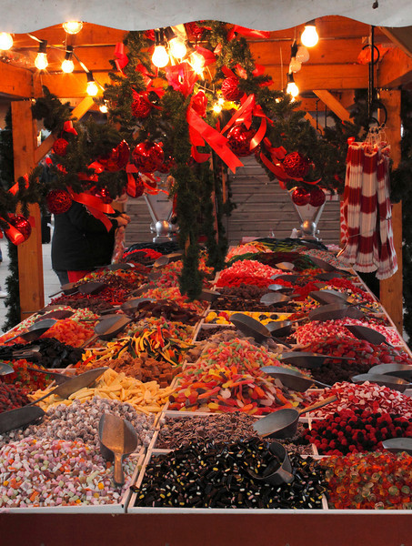 Confectionary stall at Cologne Christmas Market South Bank London December 2009