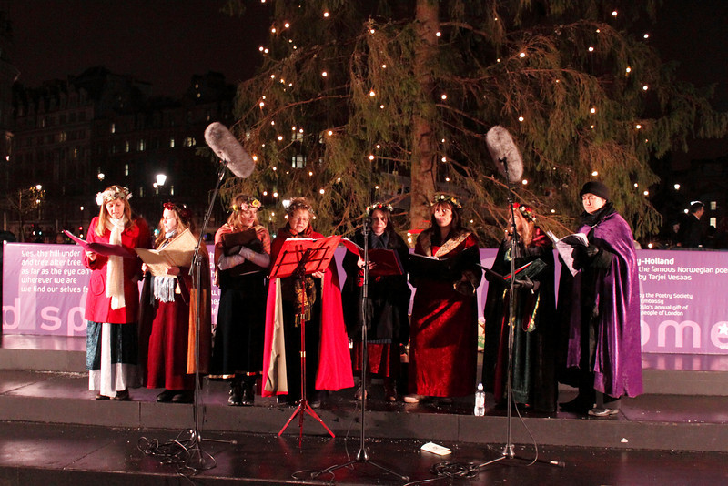 Christmas Carol singers Trafalgar Square London December 2009