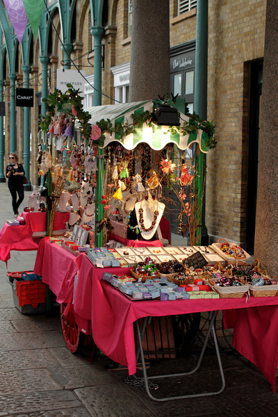 Jewellery stall at Covent Garden Market London July 2010
