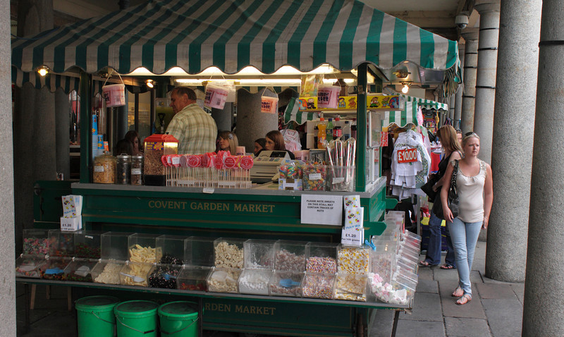 Confectionary stall at Covent Garden Market London July 2010