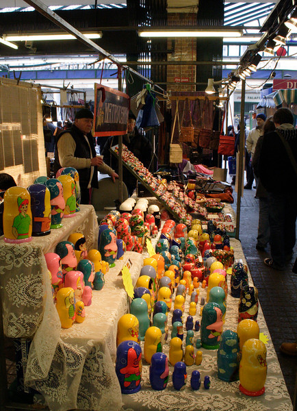 Russian doll stall at Jubilee Market Hall Covent Garden February 2008