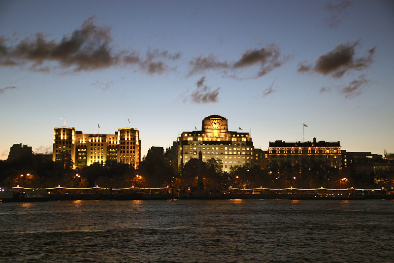 Victoria Embankment London Shell Mex building in middle