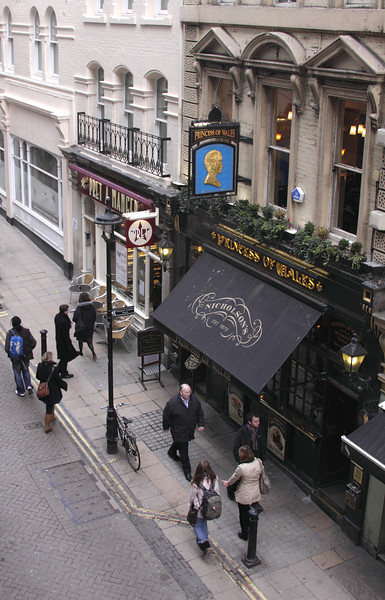Aerial view of Villiers Street and Princess of Wales pub London January 2010