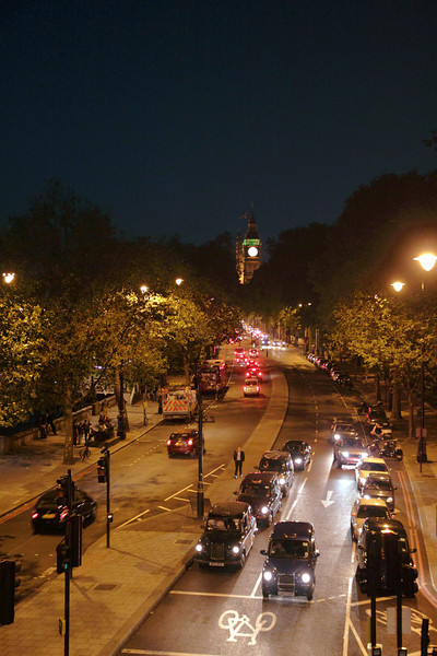 Traffic on the Victoria Embankment London at night June 2012