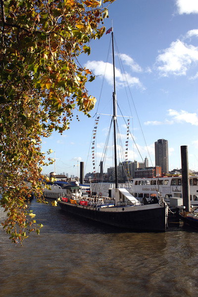 Pub boat moored off Victoria Embankment London
