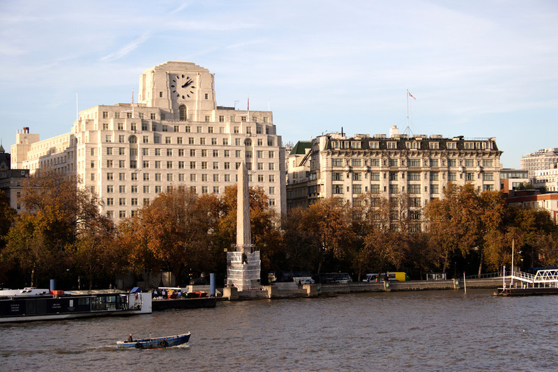 Victoria Embankment London Shell Mex building on left