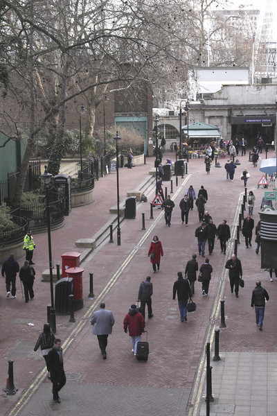 Aerial view of Villiers Street Embankment London January 2010