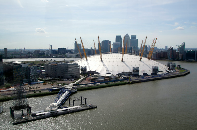 O2 Arena and London skyline aerial view from Emirates Air Line Cable Car