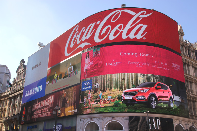 Electronic billboard at Piccadilly Circus London July 2016