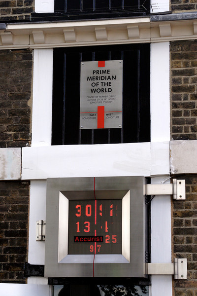 Prime Meridian Line and GMT digital clock at the Royal Observatory Greenwich London