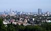 London city skyline view from Parliament Hill Hampstead Heath June 2010