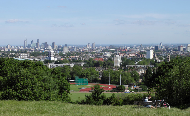 London cityscape view from Parliament Hill Hampstead Heath summer 2010
