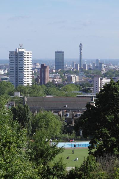 London skyline view from Parliament Hill Hampstead Heath June 2010