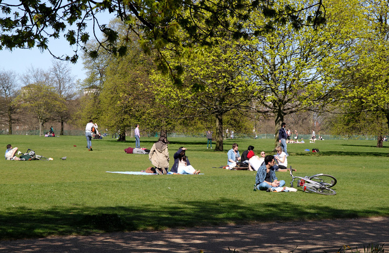 Sunbathing at Hyde Park London in the Spring