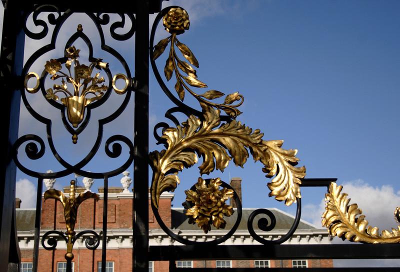 Gold leaf on entrance gate to Kensington Palace London