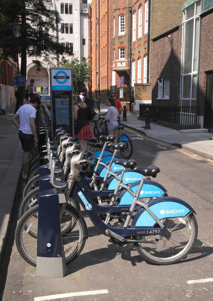 Bikes for hire at Sloane Square Chelsea London