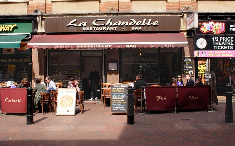 La Chandelle Restaurant Irving Street off Leicester Square London April 2009